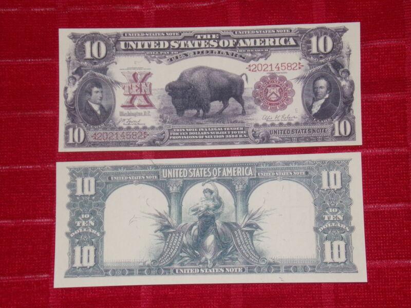"""NICE LOOKING CRISP UNC. 1901 $10 """"BISON"""" RED SEAL COPY"""