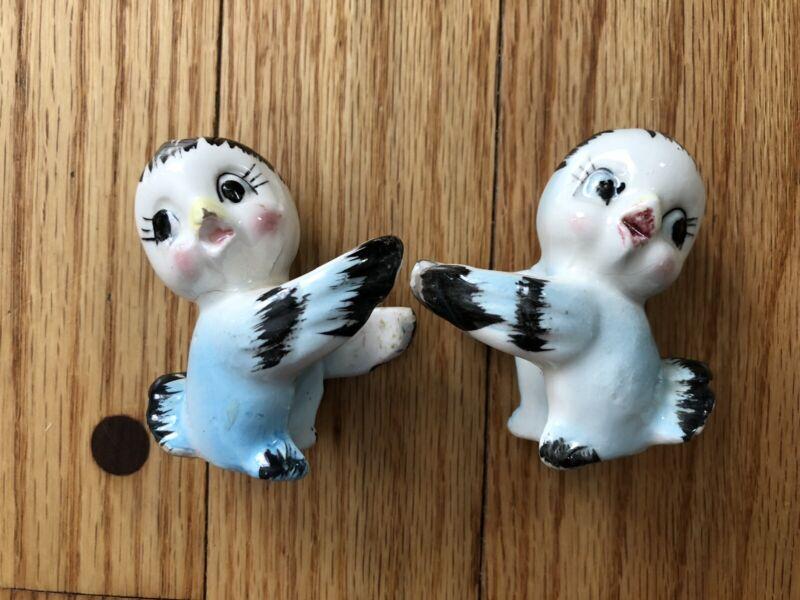 Vintage Bluebird Candle Huggers Blue Bird Figurines *RARE*