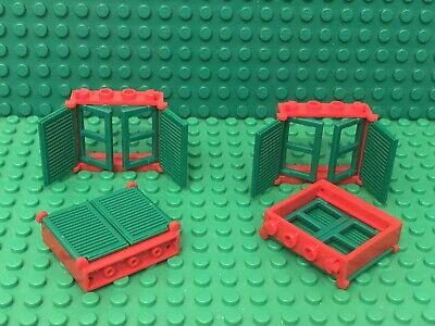 LEGO 6 x Window 1x4x3 City Friends White Frame w// Yellow Pane