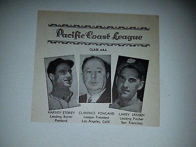 Larry Jansen San Francisco Seals Harvey Storey 1947 Sporting News Minor - Larry Harvey