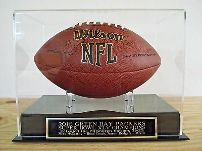 Football Display Case With A Green Bay Packers Super Bowl 45 Champions Nameplate