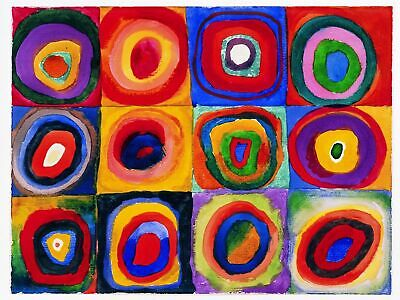 Kandinsky Kunst Poster (Kunstdruck Poster Wassily Kandinsky - Farbstudie Quadrate Bild 60 x 80 cm)