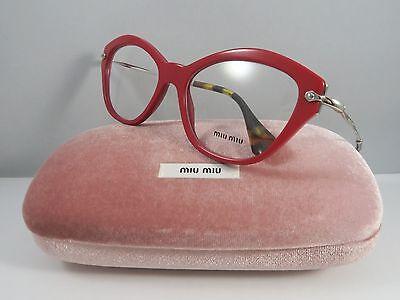 Miu Miu VMU 02O UA4-1O1 Red on Silver/Havana New Authentic Eyeglasses 54mm Case