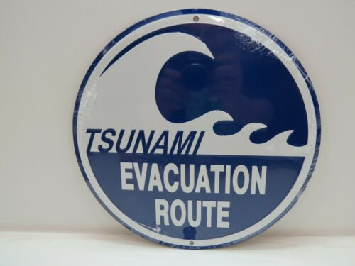 """Tsunami Warning"" Aluminum Metal Sign 12"" -(B4C270)"