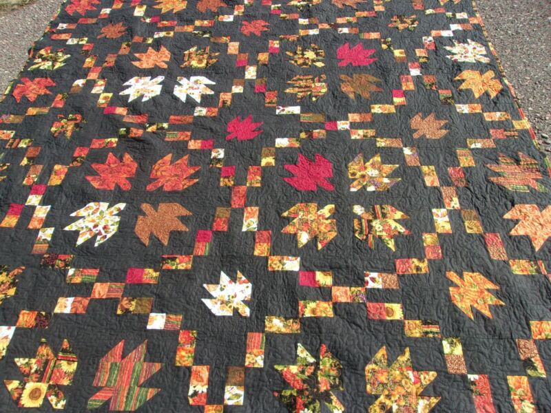 Homemade New Fall Quilt 94x94 Swirling Leaves with a black backround