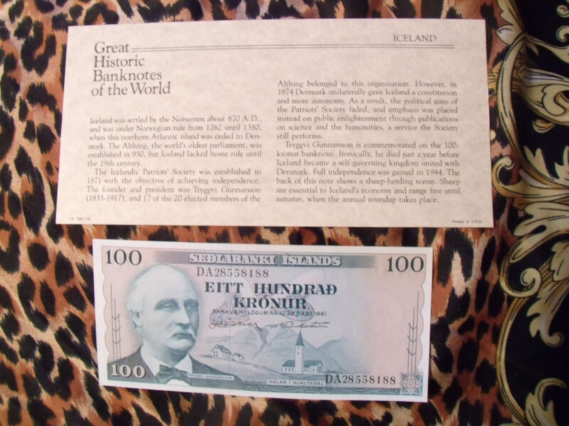 Great Historic Banknotes Iceland 1961 100 Kronur P-44 UNC sign. 43