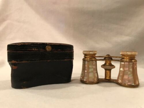 VINTAGE LEMAIRE OF PARIS FRANCE OPERA BINOCULARS AND CASE WITH  BEE STAMP