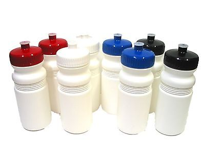 50 Biker Sports Water Bottles Red White Blue Black Caps Made in USA Recyclable* (Plastic Water Bottles In Bulk)