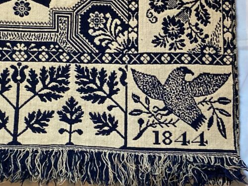 Antique Jacquard Blue & White Coverlet With Eagles + Tree of Life, Dated 1844