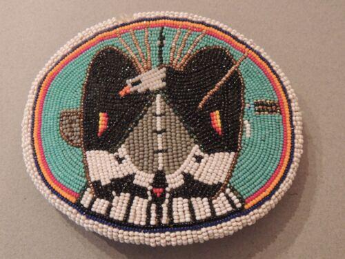 Large Native American Eagle Beaded Belt Buckle