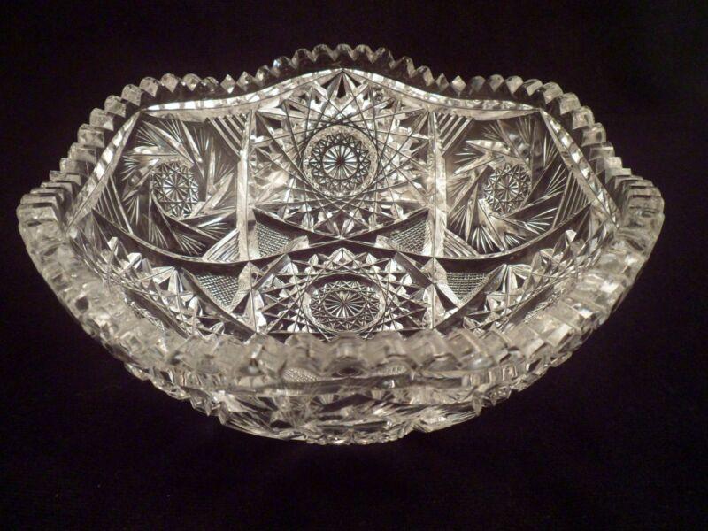 Exceptional American Brilliant Period Cut Crystal Antique Bowl, Fluorescing