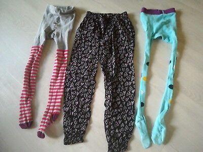 3 Hosen für Mädchen, Strumpfhosen, modisch, bunt, Größe 122/128