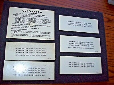 Gottlieb CLEOPATRA Original Arcade Pinball Machine Instruction / Score Cards