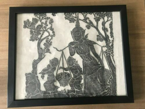 Special Sale!  Mother w/ 2 children Thai Temple Rubbings / Dancers & Musicians