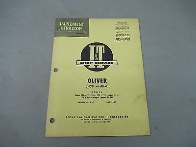 Oliver It Shop Service Manual For Super 99gmtc 950 990 995 770 880 Series