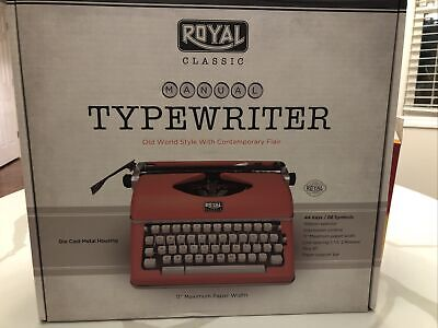 Royal 79120q Classic Manual Typewriter Red 44 Keys88 Symbols- Die Cast Body