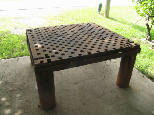 "60"" X 60"" Platten Heavy-Duty Table, 30"" high on sturdy thick 8"" dia. Legs."