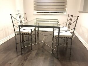 Glass/Iron Table Dining Set