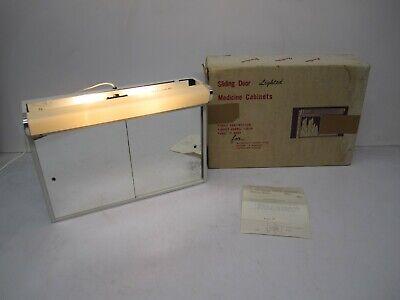 Vtg NOS Bathroom Lighted Medicine Cabinet Storage Sliding Mirror Doors