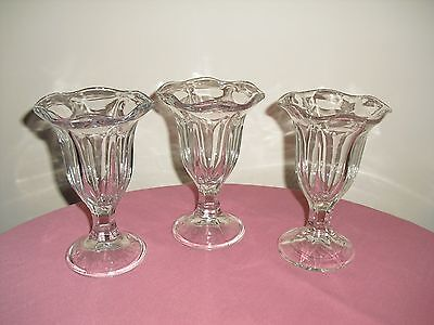 3 Pedestal Footed Clear Ruffled Ice Cream Sundae Goblets / Glasses
