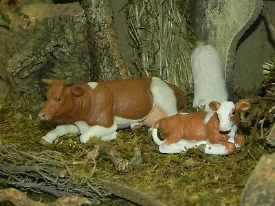 Cow Calf Figurine Papo Nativity Scene Village Farm Pesebre Vaca Animal Laying