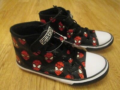 boys boots Spiderman high tops superhero BNWT George Marvel size 13 fleece lined