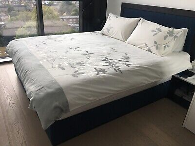 KAS 1 Double Duvet Cover & 2 Standard Pillowcases Embroidery Leaf White Green