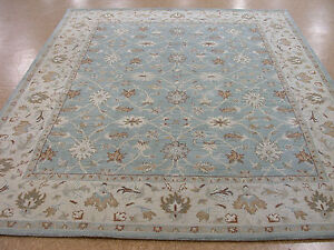 8 X 10 Pottery Barn Malika Blue Persian Style New Hand Tufted Wool Rug