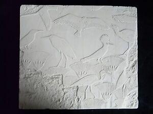 Egyptian-Papyrus-Birds-Swamp-Plaque-Relief-28cm-Hand-Made-Gypsum-Plaster-New