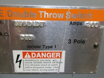 Ite 200 Amp 240 Volt 1 Phase 3 Pole Double Throw Safety Switch Catalog Nf324dt