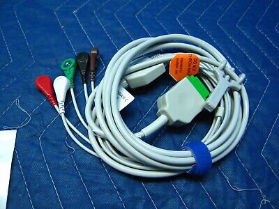 New Ge Marquette 5 Lead Ekg Cable With Snap Lead Wires Dash Solar Eagle Pdm Tram