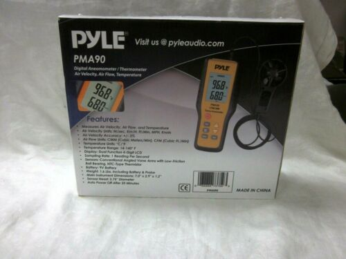 Pyle PMA90 Digital Anemometer Thermometer Air Velocity Flow Temperature