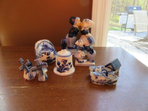 8 - Vintage Holland Delft Blue White Figurines Shoes Windmill Kissing Couple