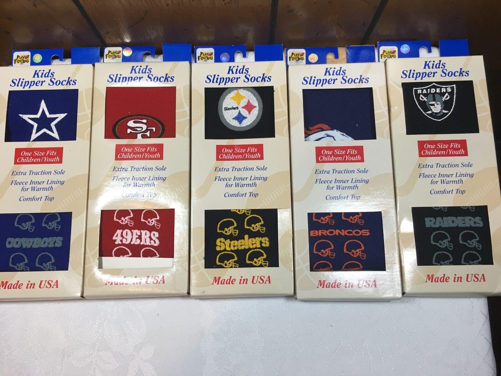 LAS VEGAS RAIDERS LICENSED NFL KIDS SLIPPER SOCKS UNISEX ONE SIZE FITS ALL Fan Apparel & Souvenirs