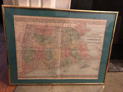 Original Massachusetts, Connecticut and Rhode Island Mitchell Map 1878