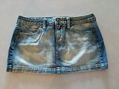 Juniors Womens FADED BLUE JEAN DENIM MINI SKIRT Bleached Look MAURICES Size - Bleached Denim Mini Skirt