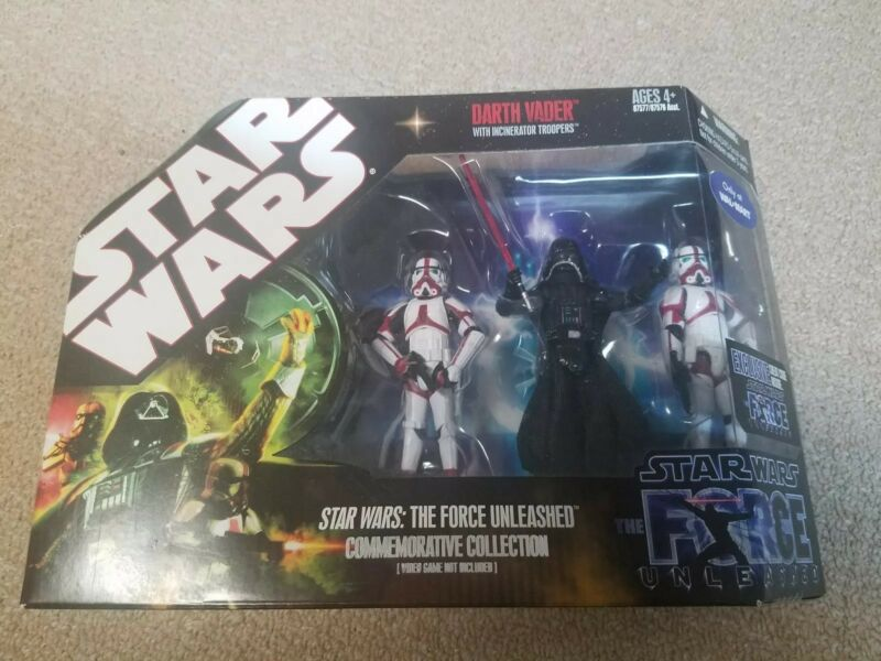 STAR WARS THE FORCE UNLEASHED DARTH VADER WITH INCINERATOR TROOPERS SET