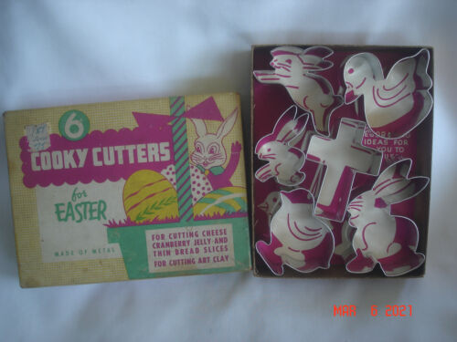 NEW BOXED Vtg. 6 METAL COOKY / COOKIE CUTTERS FOR EASTER Use for clay, cheese ++