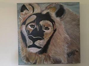 Large Original Painting on Canvas Abstract LION Thagoona Ipswich City Preview