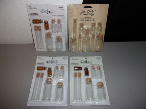 4 Packs of Various Sizes Corked Stopper Glass Apothecary Jars/Vials  All New!