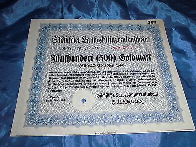 383 : Wertpapier / historisch , 15. Mai 1924 , Rentenschein , 500 Gold Mark / 73