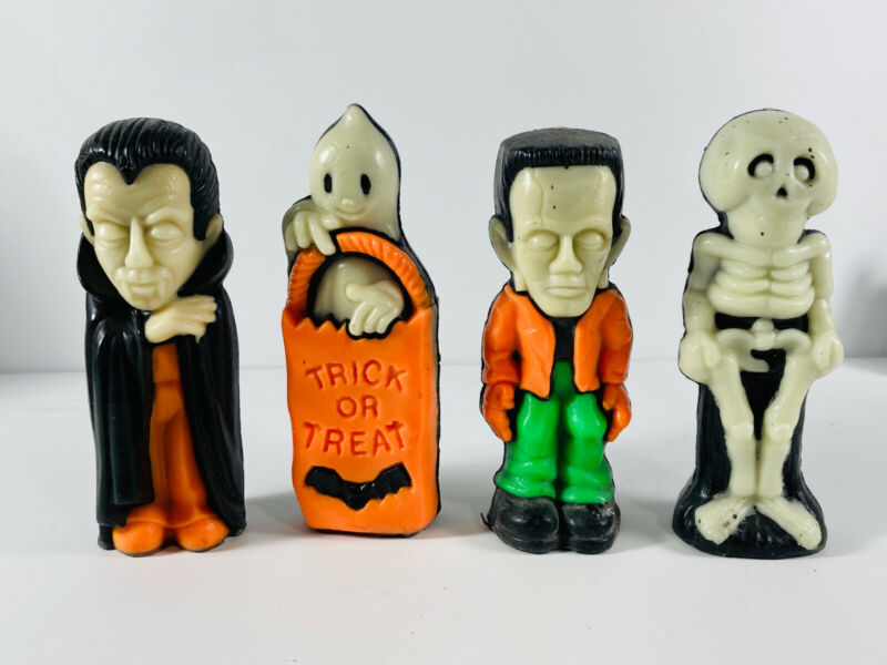 Lot (4) VTG Gurley Halloween Candles Frankenstein Dracula Vampire Skeleton Ghost