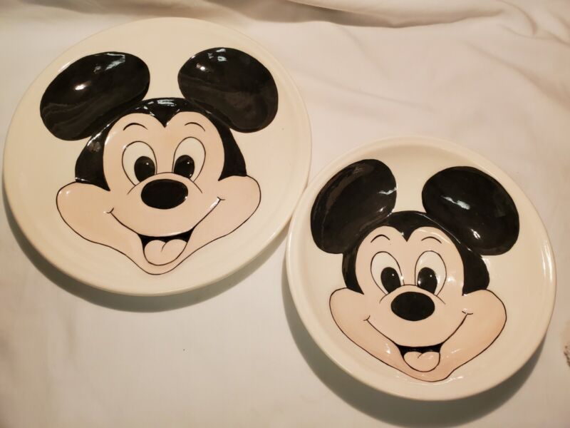 Vintage 3D Ceramic Mickey Mouse Plate And Bowl Hand Painted