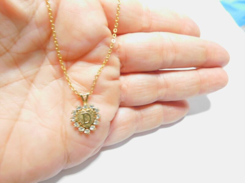 Clear Rhinestone Initial D Heart Pendant Necklace Vintage