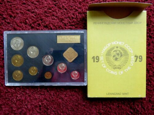 1979 RUSSIAN 9 COIN AND TOKEN MINT SET IN ORIGINAL USSR PACKAGING.!
