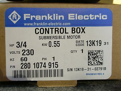 3 4 Hp 230V Franklin Qd Control Box Submersible Water Pump  2801074915 New