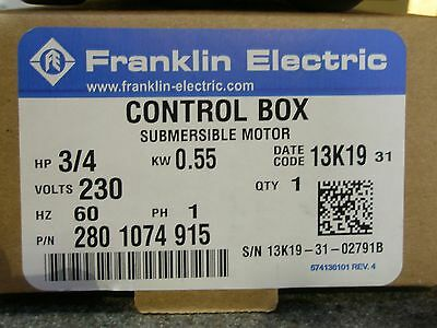 34 Hp 230v Franklin Qd Control Box Submersible Water Pump 2801074915 New