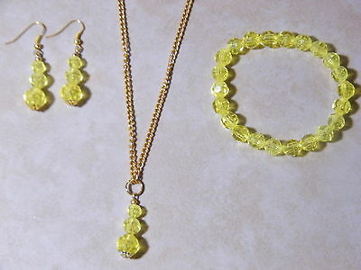 (Yellow Necklace Bracelet Earrings Bead Set Acrylic Gold Plated 16