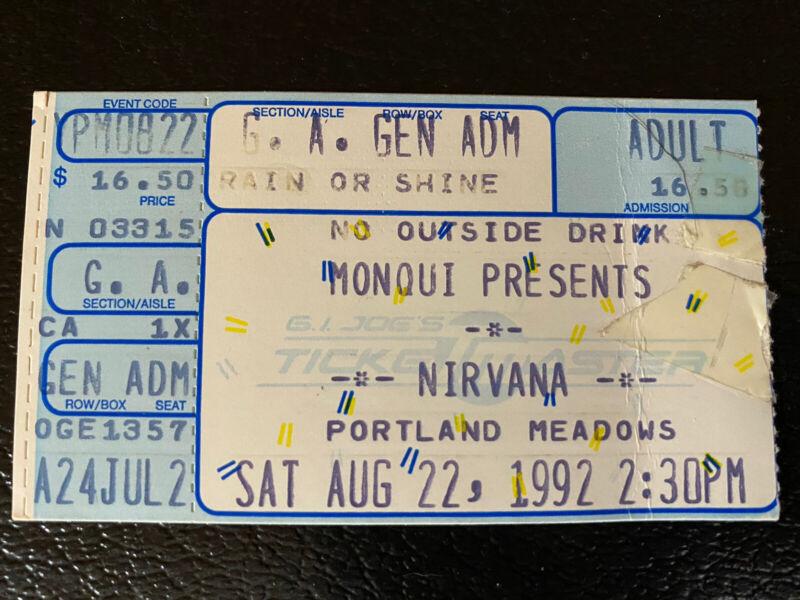 Nirvana Ticket Stub No On 9 Kurt Cobain Live Dave Grohl Original August 22 1992