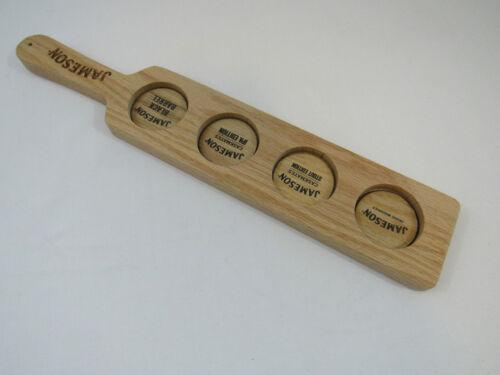 Jameson Irish Whiskey Flight Tasting Tray Paddle - 4 pocket - Etched - Oak Wood